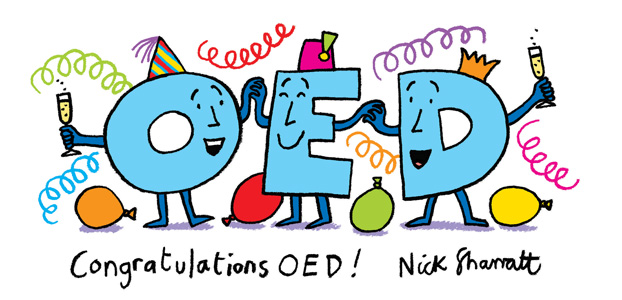 Nick sharratt congratulations oed illustration 300px